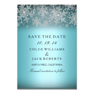 Crystal Snowflake Blue Winter Save The Date Card