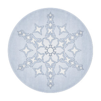 Crystal Snowflake on Light Blue Cutting Board