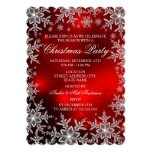 Crystal Snowflake Red Christmas Party Scall 13 Cm X 18 Cm Invitation Card
