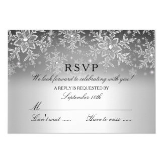 Crystal Snowflake Silver Winter RSVP Card