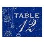 Crystal snowflakes blue wedding table number postcard