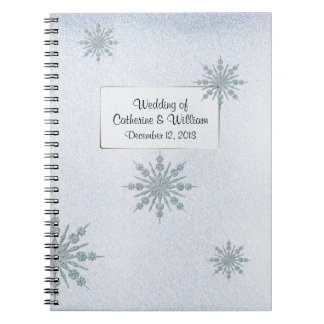 Crystal Snowflakes Winter Wedding Guest Sign In Notebook
