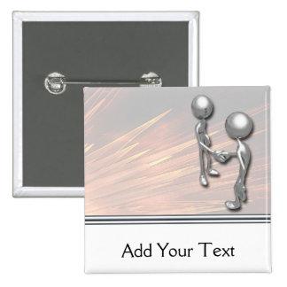 Crystal Starburst Handshake Pinback Buttons