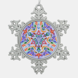 Crystal Symmetry (Snowflake Ornament) Snowflake Pewter Christmas Ornament