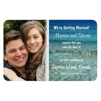 Crystal Water Save the Date Large Photo Magnet