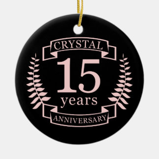 Crystal wedding anniversary 15 years ceramic ornament