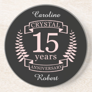 Crystal wedding anniversary 15 years coaster
