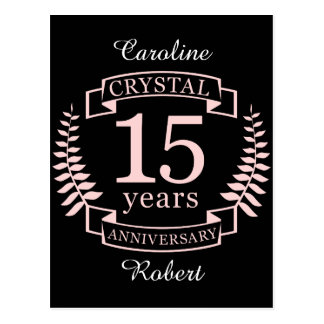 Crystal wedding anniversary 15 years postcard