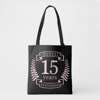 Crystal wedding anniversary 15 years tote bag