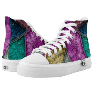 Crystalized Stained Glass Look HIgh Top Shoes Printed Shoes