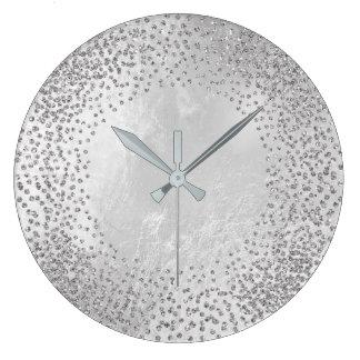 Crystals Confetti Glitter Grey Glass Silver Gray Large Clock