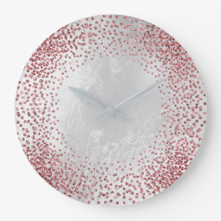 Crystals Confetti Glitter Rose Pink Silver Gray Large Clock
