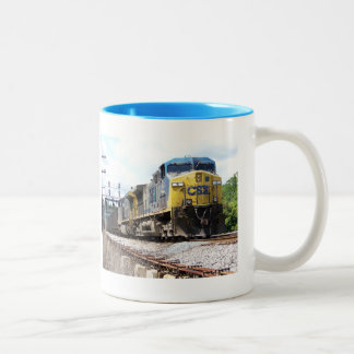 CSX Railroad AC4400CW #6 With a Coal Train Two-Tone Coffee Mug