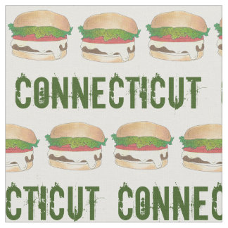 CT Connecticut Steamed Cheese Burger Cheeseburger Fabric