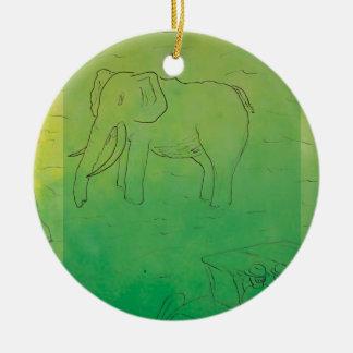 CTC International - Elephant Round Ceramic Decoration