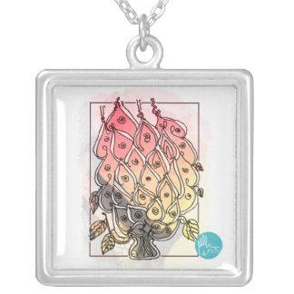 CTC International -  Flowers 2 Square Pendant Necklace