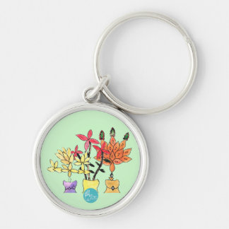 CTC International - Flowers Silver-Colored Round Key Ring