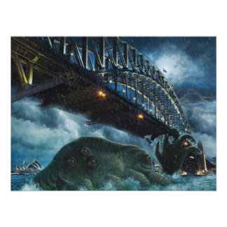 Cthulhu Attacks Sidney Australia Poster