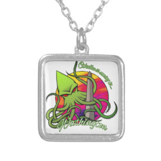 Cthulhu Eating the Obelisk on the Washington D.C. Silver Plated Necklace