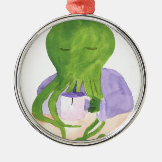Cthulhu Has A Cup Of Tea Metal Ornament