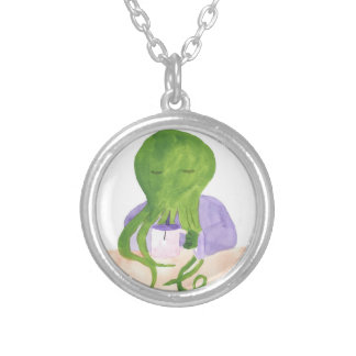 Cthulhu Has A Cup Of Tea Silver Plated Necklace