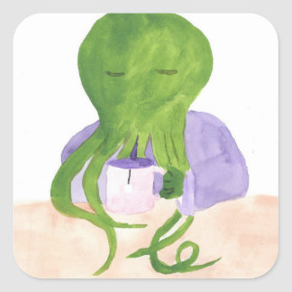 Cthulhu Has A Cup Of Tea Square Sticker