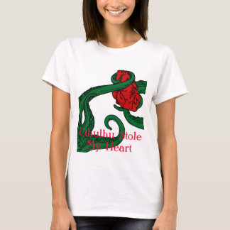 Cthulhu Stole My Heart Ladies T Shirt - Red Text