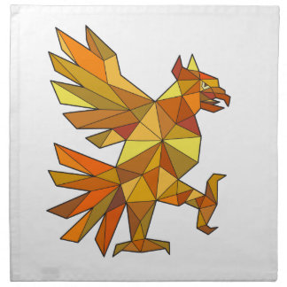 Cuauhtli Glifo Eagle Fighting Stance Low Polygon Napkin