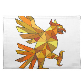 Cuauhtli Glifo Eagle Fighting Stance Low Polygon Placemat