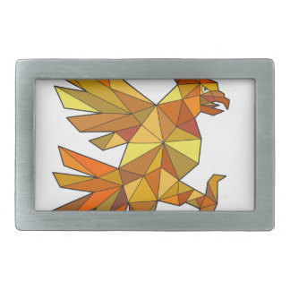 Cuauhtli Glifo Eagle Fighting Stance Low Polygon Rectangular Belt Buckle