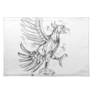 Cuauhtli Glifo Eagle Fighting Stance Tattoo Placemat