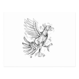 Cuauhtli Glifo Eagle Fighting Stance Tattoo Postcard
