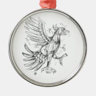 Cuauhtli Glifo Eagle Fighting Stance Tattoo Silver-Colored Round Decoration