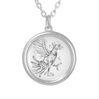 Cuauhtli Glifo Eagle Fighting Stance Tattoo Silver Plated Necklace