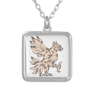 Cuauhtli Glifo Eagle Tattoo Silver Plated Necklace