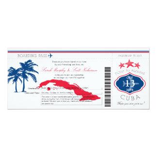 Cuba Boarding Pass Wedding Card
