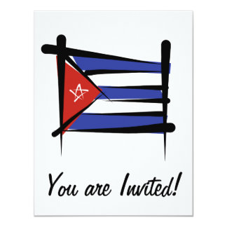 Cuba Brush Flag 11 Cm X 14 Cm Invitation Card
