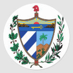 cuba coat of arms round sticker
