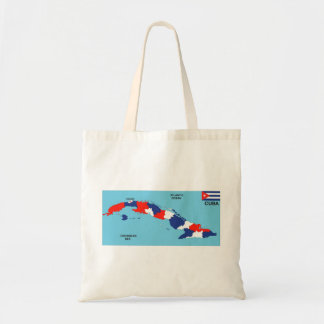 Cuba country political map flag tote bags