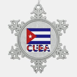 Cuba Flag and Word Dark Blue Stripes Snowflake Pewter Christmas Ornament