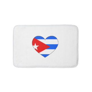 Cuba Flag Heart Bath Mats
