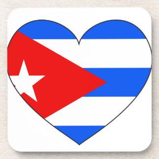 Cuba Flag Heart Coaster