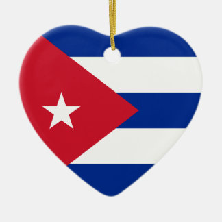 Cuba Flag Heart Ornament