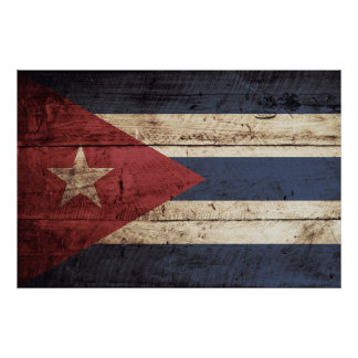 Cuba Flag on Old Wood Grain Poster