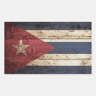 Cuba Flag on Old Wood Grain Rectangular Sticker
