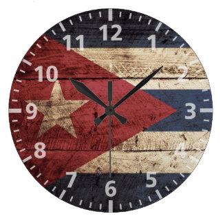 Cuba Flag on Old Wood Grain Wallclock