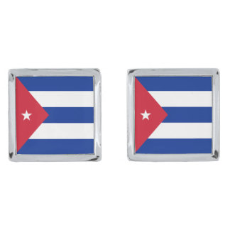 Cuba Flag Silver Finish Cuff Links