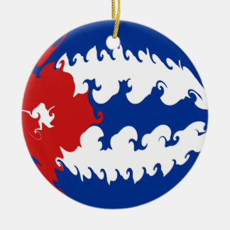 Cuba Gnarly Flag Round Ceramic Decoration