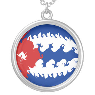 Cuba Gnarly Flag Round Pendant Necklace