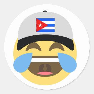 Cuba Hat Laughing Emoji Classic Round Sticker